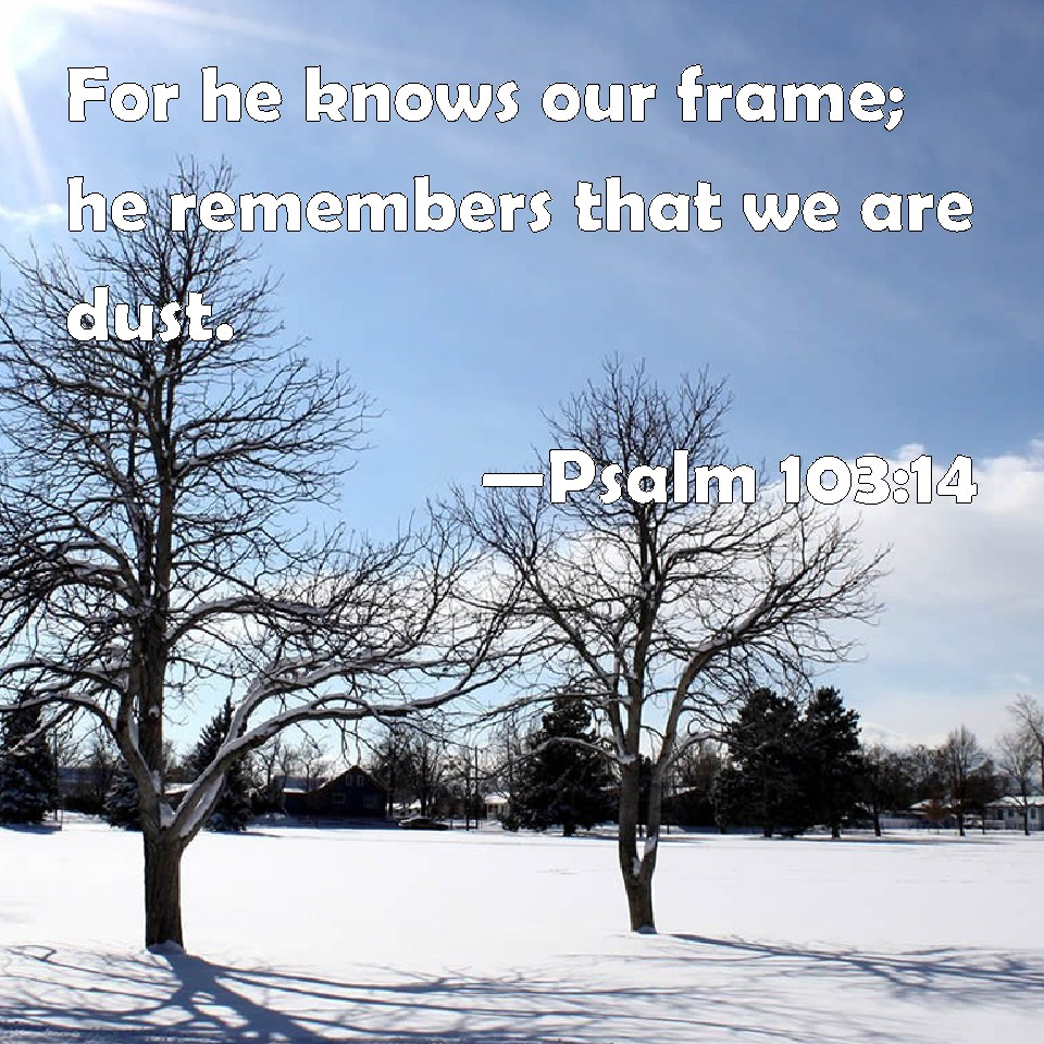 Psalm 103:14 For he knows our frame; he remembers that we are dust.