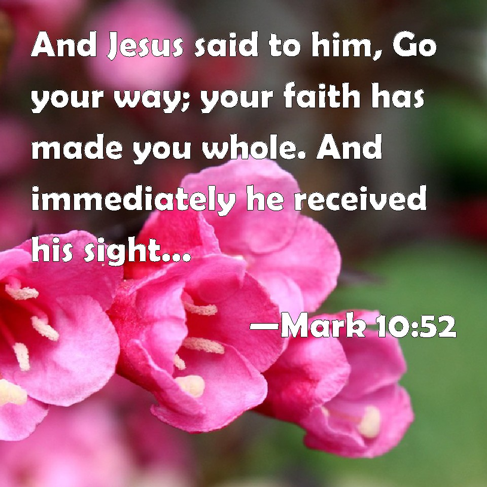 Mark 10:52 And Jesus said to him, Go your way; your faith has made you  whole. And immediately he received his sight, and followed Jesus in the way.