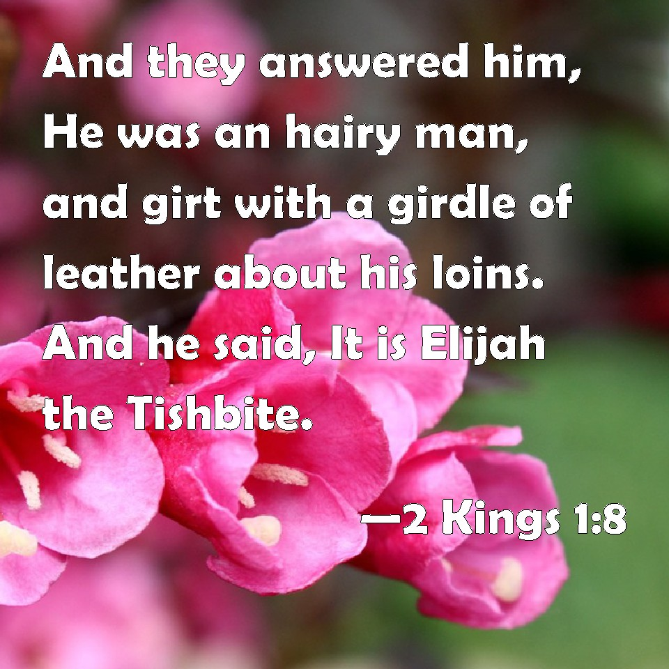 And They Answered Him He Was An Hairy Man And Girt With A Girdle Of Leather About His Loins And He Said It Is Elijah The Tishbite