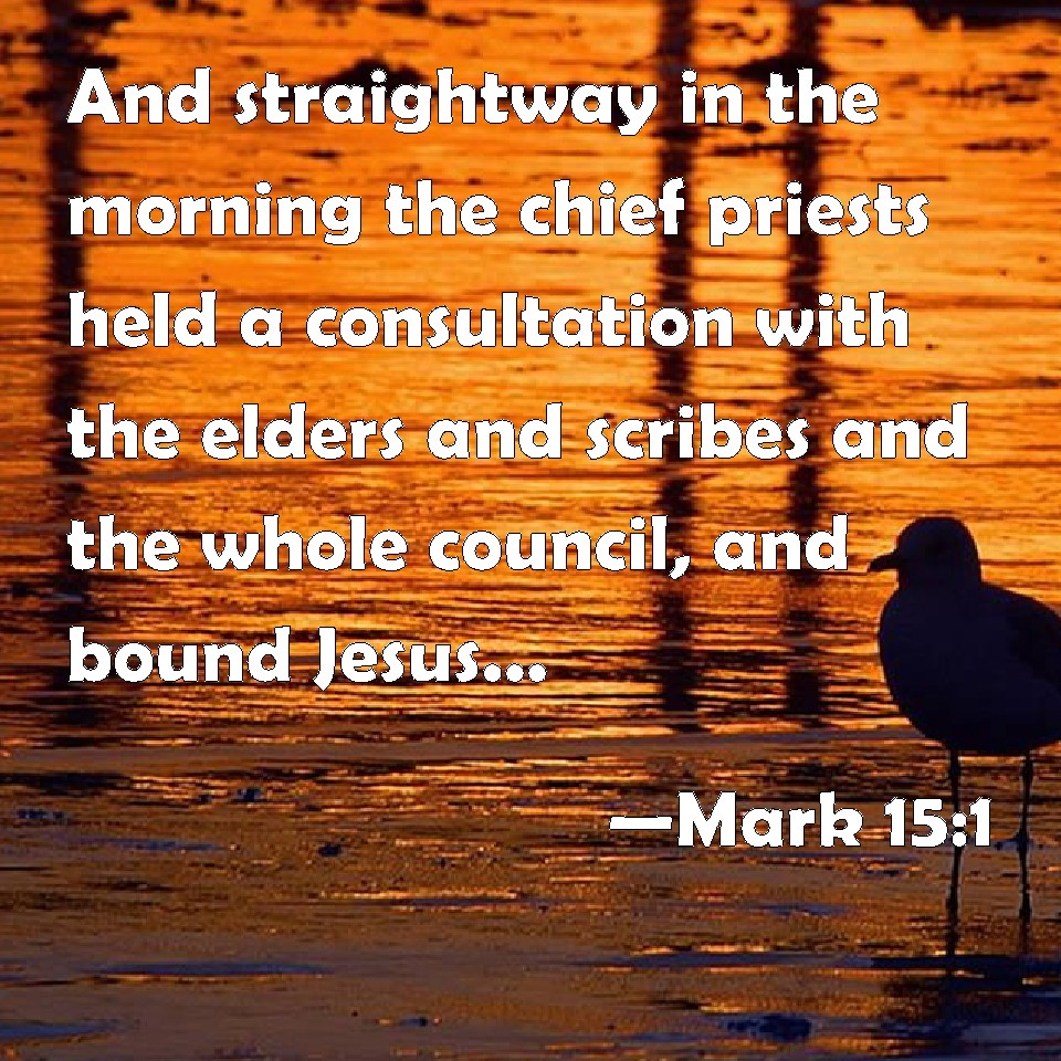 Mark 15:1 And straightway in the morning the chief priests