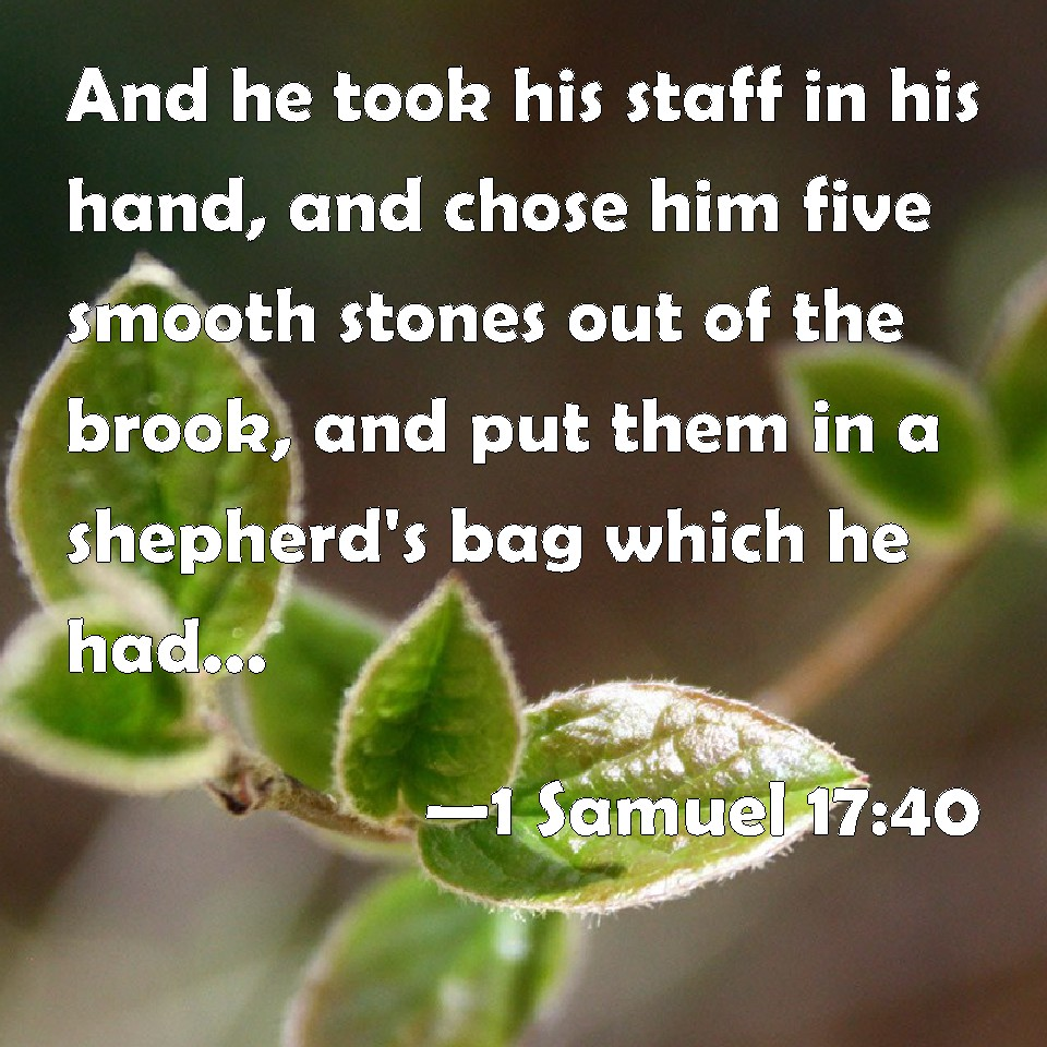 1 Samuel 17:40 And he took his staff in his hand, and chose him five smooth  stones out of the brook, and put them in a shepherd's bag which he had, even