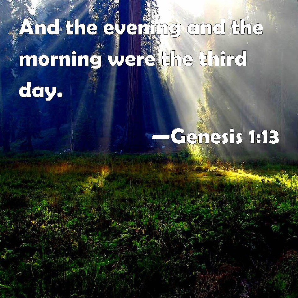 Genesis 1:13 And the evening and the morning were the ...