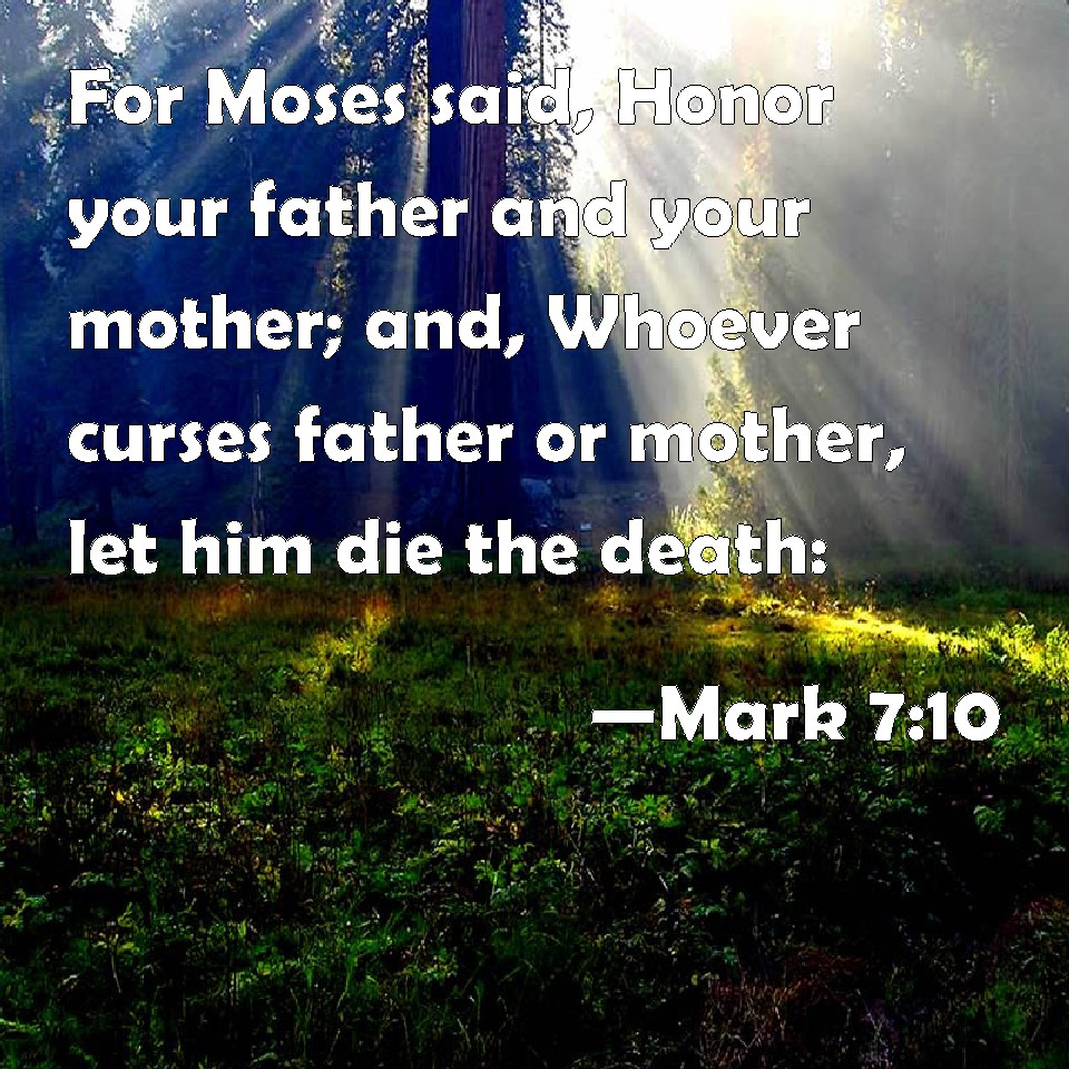 honor your father and your mother A society in which children honor their parents will long survive a society in which they don't is doomed to self-destruction the fifth commandment reads, honor your father and your mother, that your days may be long in the land that the lord your god is giving you (exodus 20:12.