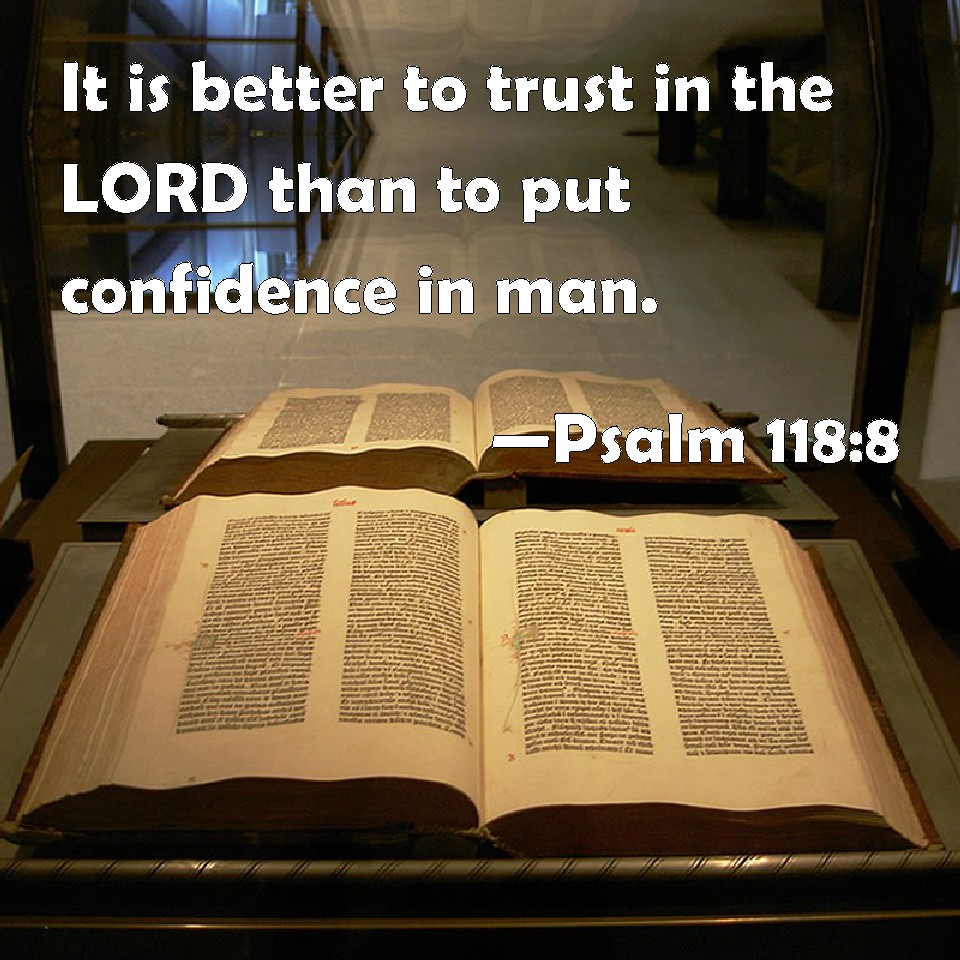 Psalm 118 8 it is better to trust in the lord than to put confidence
