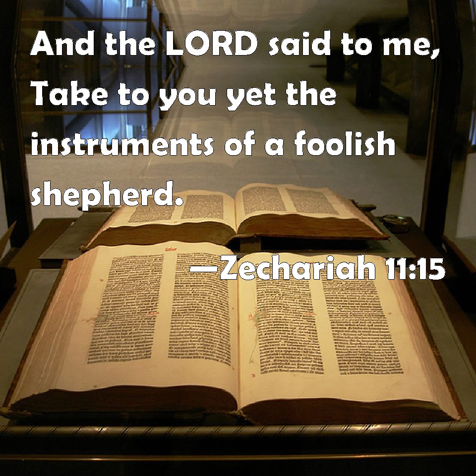 Zechariah 11 15 and the lord said to me take to you yet the