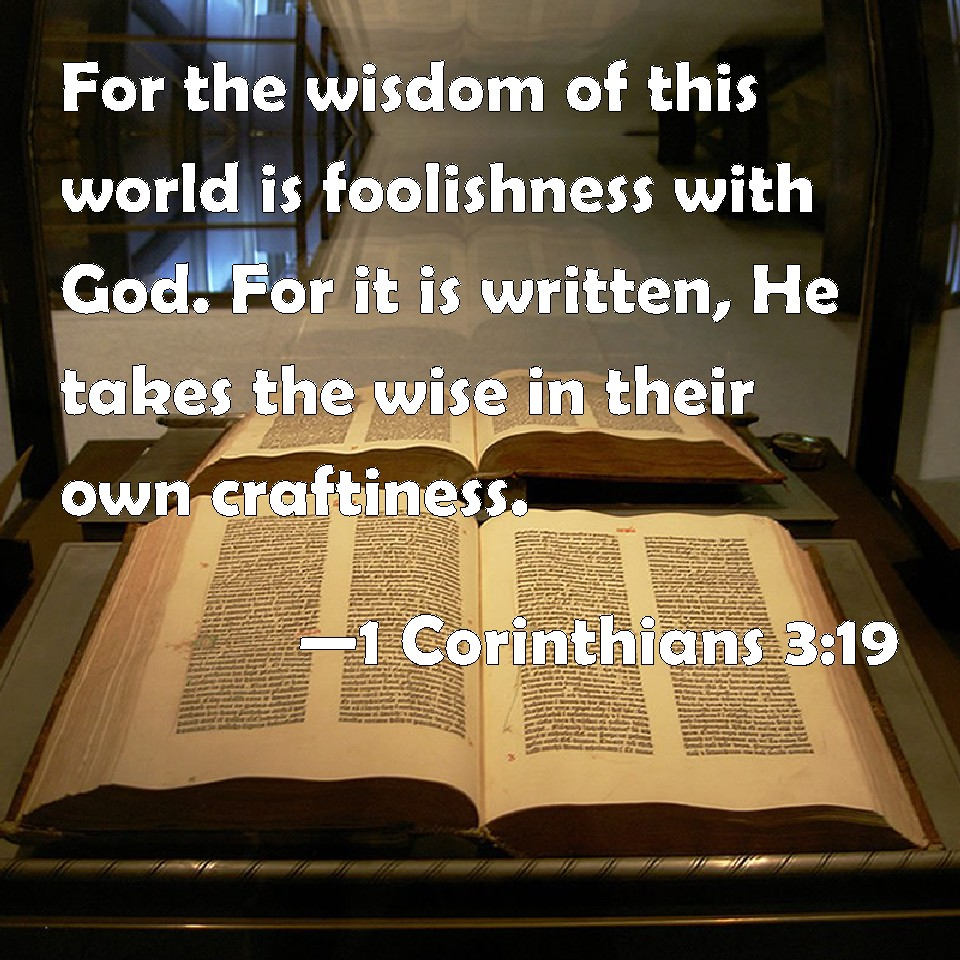 1 Corinthians 3:19 For the wisdom of this world is foolishness ...