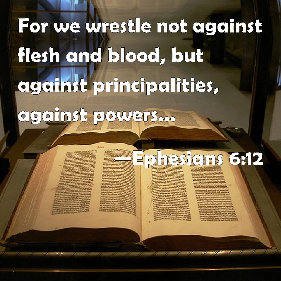 Ephesians 6:12 For we wrestle not against flesh and blood ...