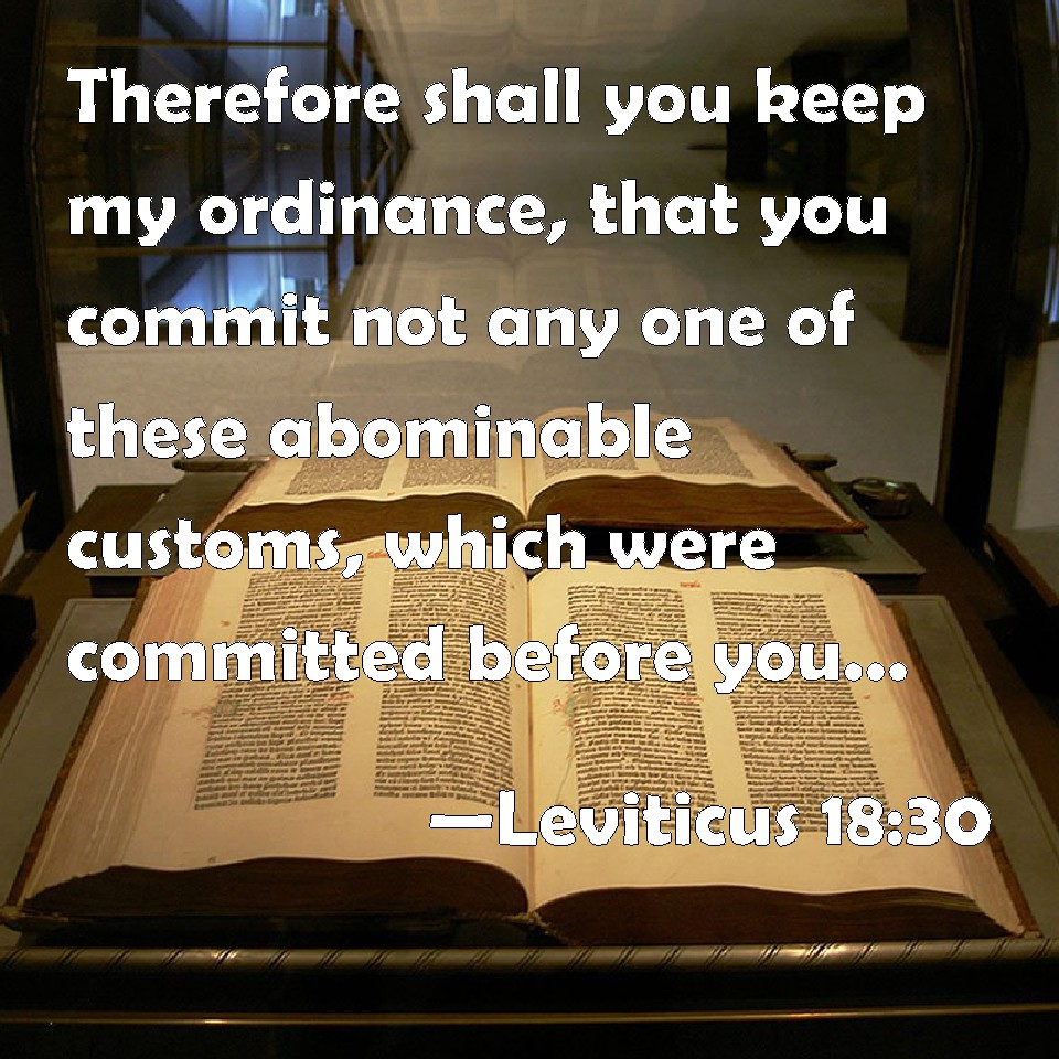 Leviticus 18:30 Therefore shall you keep my ordinance, that you ...