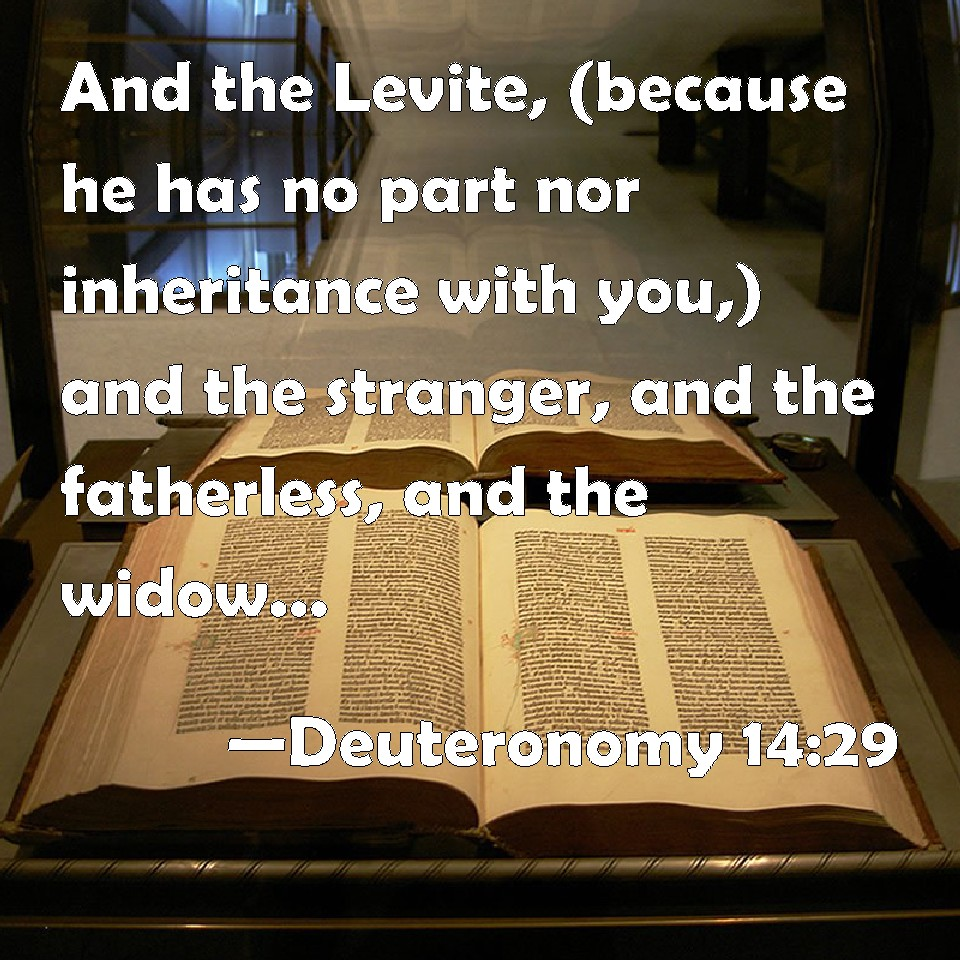 Deuteronomy 14:29 And The Levite, (because He Has No Part